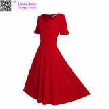 Womens Vintage Pure Color Sweetheart Neck 1/2 Sleeve Dress L36068