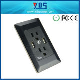 250V 15A Electric Power Dual USB Wall Socket with FCC