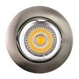 Die Cast Aluminum GU10 MR16 Satin Nickel White Round Fixed Recessed LED Light (LT1000)