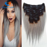 Clip in Sliver Gery Human Hair Cheap Brazalian Gery Straight Hair Extension