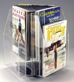 Rotation Triangle Table Turntable 3 Side Brochure Acrylic Display Stand