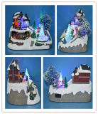 Resin Crafts Christmas Decoration with LED Lights and Moving Train, Santa, Flying Reindeer, Christmas Tree, Candy Shop, Train Station, Toy Shop as Gifts
