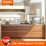 Wood Timber Teak Veneer with White Kitchen Cabinets