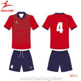 Helaong Custom Fashion Style Red and Black Color Team Wear Soccer Set