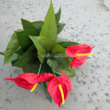 Real Touch PU Anthurium Flower Wholesale Artificial Flower Plant for Home Decoration