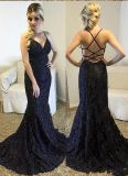 Black Lace Prom Dresses Beads Mermaid Party Evening Dresses E1817
