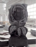 Rose Headstone/Monument/Tombstone, Rose Shaped Tombstone, Stone-Shadow, Black Granite Monument & Tombstone