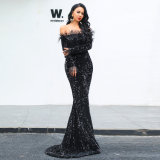 2020 Fashion Newest Design Long Sleeve Sex Appeal Wrap Buttock Women Evening Dress
