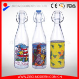 500ml Customized Glass Drinking Juice Water Bottle with Clip Lid