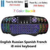 2.4G I8 Wireless Spanish English 7 Color Backlit Mini Ergonomics Keyboard with Touchpad