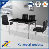 Rectangular Black Glass Dining Table with 4 Chairs