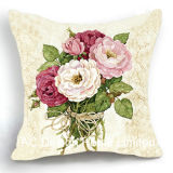 Beautiful Square Camella Design Decor Fabric Cushion W/Filling