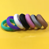 Womens Thin Silicone Rubber Wedding Rings Finger Rings with Glitter Powder 7 Colors Pack