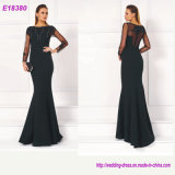 Beading Deep V-Neck Elegant Prom Long Sleeves Evening Dresses