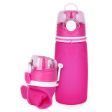 Free Sample Leakproof Portable Squeeze Collapsible Silicone Water Bottle 550ml