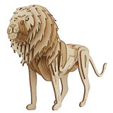 Lion Customized Mini Wood 3D Animal Wooden Puzzle Game DIY Toy Model Set for Kids