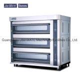 Food Factory Oven Cake Shop Machine Lighting Function 3 Deck 12 Trays Time Alarm Anti-Leakage Alarm Kitchen Machine Lava Stone Luxury Gas Oven