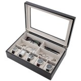 Valet Wood Glasses Pens Jewelry Watches 5 Extra Large Compartments Box