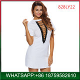 New Arrival White V-Neck Lace-up Sexy Woman Mini Dress