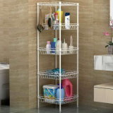 White Powder Coated 4 Tiers DIY 30kg Bathroom Rack Wire Basket Shelf