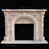 Home Decor Stone Mantel Marble Fireplace with Flowers Carving (GSMF-223)