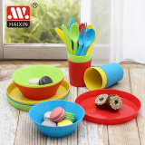 Plastic Tableware with Fork Spoon Bowl Plate for Children
