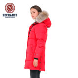 Bechance Canada Style Women Winter Padded Jacket Long Down Coat with Fur Hood