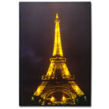 Wholesale Eiffel Tower Landscape Oil Painting LED Lighted up Canvas Wall Ar