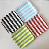 "Disposable Square 7"" Hot Striped Paper Plate for Party"