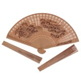 Folding Fan Wood Carving Printing Ancient Style Craft Fan