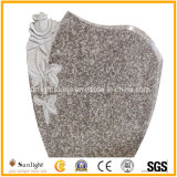 European Design China G664 Pink Purple Granite Headstone Gravestone Tombstone with Rose Carving