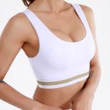 Custom White Gym Bra Golden Stripes Sports Bra Cheap Workout Women Sports Wear