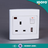 UK Standard 1gang 13A USB Switched Socket with Neon Use for Home