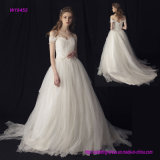 Factory Wholesale Classic Bridal Wedding Dress with V-Neck, off-Shoulder and A-Line Style