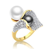 Yellow Gold Plating Crystal Alloy Pearl Bead Jewelry Ring