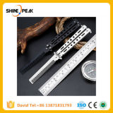 Black Silver Stainless Steel Practice Butterfly in Knife Balisong Trainer Training Folding Knife Dull Tool Outdoor Camping Comb