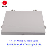 36 Cores 1u Rack Mount Patch Panel with Telescopic Rails