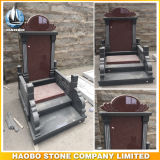Asian Style Black and Red Granite Tombstones Wholesale