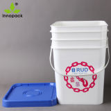 Colorful Printed 20L 5 Gallon Square Plastic Bucket with Gasket Lid and Handle