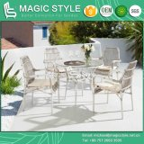 Outdoor Wicker Dining Set with Cushion Garden Dining Chair Patio Stackable Chair Rattan Dining Table Special Weaving Dining Chair
