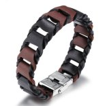 New Fashion Brown and Black PU Leather Bracelets Bangles for Men and Women Retro Charm Bracelets
