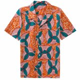 Wholesale Cotton African Wax Printing Design Short Sleeve Shirt for Men