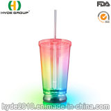 16oz Customized Colorful LED Plastic Tumbler with Lids and Straw (HDP-0175)