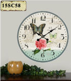 Vintage Decoration Antique Elegant Flower Design MDF Wooden Print Paper Decal Wall Clock