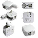 Folding Home Travel 5V 2.1A Dual USB Wall Power Adapter 2 in 1 Car Charger