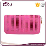 Pink Color Zipper Style PU Leather Women Wallet Purse
