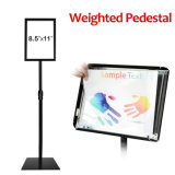 Weighted Pedestal Snap Open Frame Sign Holder Black Color Floor Stand