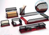Wooden Desk Accessories Set/Metal Mesh Stationery Office Set/ Office Desk Accessories