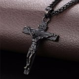 Cross Crucifix Jesus Piece Pendant Necklace for Men