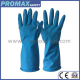 Protectve Flocklined Blue Household Rubber Cleaning Safety Work Gloves